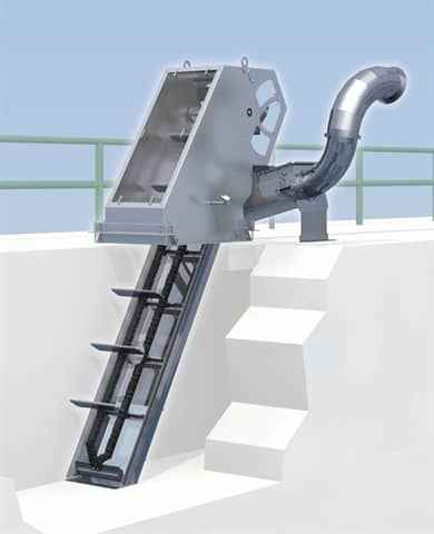Duperon Low Flow System for wastewater screening, washing and compacting includes a Duperon FlexRake® Low Flow and the new Duperon Low Flow Washer Compactor