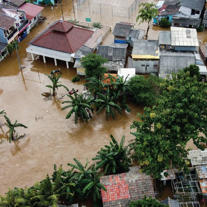 Flood waters inside town